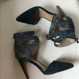 Stunning Blue suede and leather heels